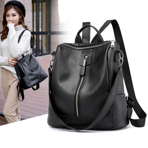 Women Casual Backpacks Soft Leather Zipper Backpack Shoulder Daypack Female Rucksack Mochilas Mujer Casual School Bag for Girls - thefashionique