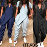 Women Clubwear Casual Short Sleeve Party Jumpsuit&Romper Women Casual Solid V-neck Jumsuits Cotton Casual Solid Clothing - thefashionique