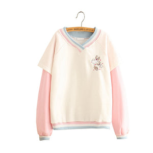 Women Corgi Embroidery Hoodies Sweatshirts Cartoon Kawaii Japanese Loose