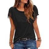Women Cotton Tassel Casual T-shirt Sleeveless Solid Color Tees Short Sleeve O-neck Women's Clothing t shirt - thefashionique