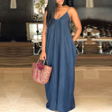 Women Denim Dress 2018 Sexy Strapless Sleeveless Beach Maxi Long Dresses V Neck Backless Casual Loose Plus Size Vestidos - thefashionique