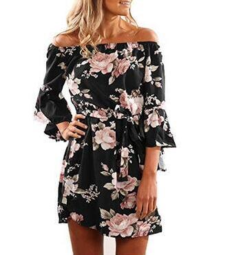 Women Dress 2018 Summer Sexy Off Shoulder Floral Print Chiffon Dress Boho Style Short Party Beach Dresses Vestidos de fiesta - thefashionique