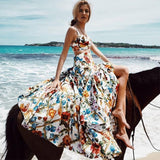 Women Dress 2019 Summer Sleeveless Print Beach Dress Femme Holiday Bohemian Sexy Condole Belt Long Dress 2 Pieces Vestidos - thefashionique