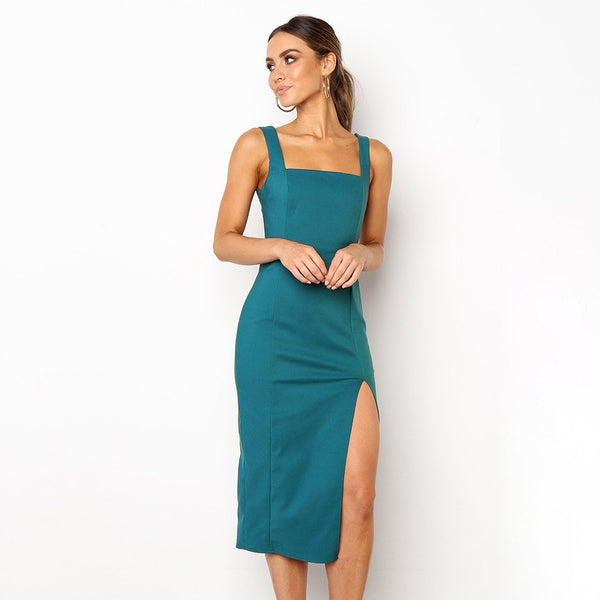Women Elegant Dress Sleeveless Split Slim Fit Sheath Dresses Modern Lady  Summer Solid Strapless Midi Party Dress #EP - thefashionique