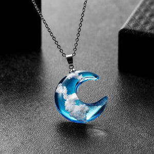 Women Elegant Nature Moon Blue Sky White Cloud Resin Transparent Ladies Necklace Jewelry Gift Retro Pendant Memorial Gifts