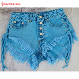 Women Emerald Denim Shorts High Waist Straps Tassel Bandages Denim Shorts Female Summer Jeans Short #68