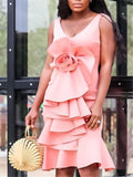 Women Event Dresses Stylish Celebrate Slim Pink with Big Flower Ruffles Sexy Lady Party Dinner Night Out Evening Femme Robes