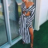 Women Fashion 2018 Striped Suit Sets Tied Crop Top &Side Slit Skirts Set - thefashionique