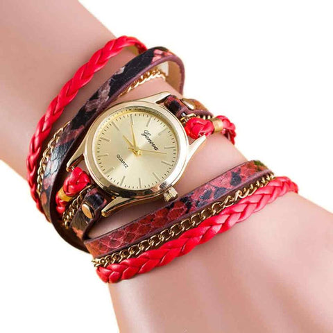 Women Fashion Geneva Watch Wrap Bracelet PU Leather Chain Strap Quartz Movement Watch Alloy Stainless Steel Analog Watch #W