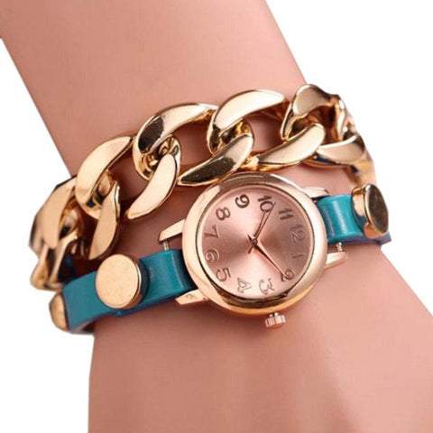 Women Fashion PU Leather Strap Alloy Chain Watch Quartz Movement Watch Bracelet Stainless Steel Dial Watch #W