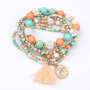 Women Fashion bracelet Multilayer Beads Bangle Tassels Bracelets beaded tassel bracelet Gift for women ladies - thefashionique