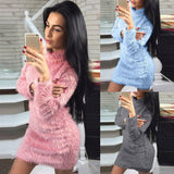 Women Fold Over Collar Long Sleeve Winter Sweater Slim Warp Mini Dresses Wool Plush Chic Simple Solid Sky Blue Pink Gray - thefashionique