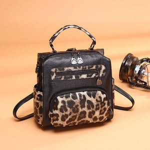 Women Genuine Leather Bags Backpack Shoulder Bag Women Leopard Print Backpack School Bag For Teenage Girls Backpacks Sac a Dos - thefashionique