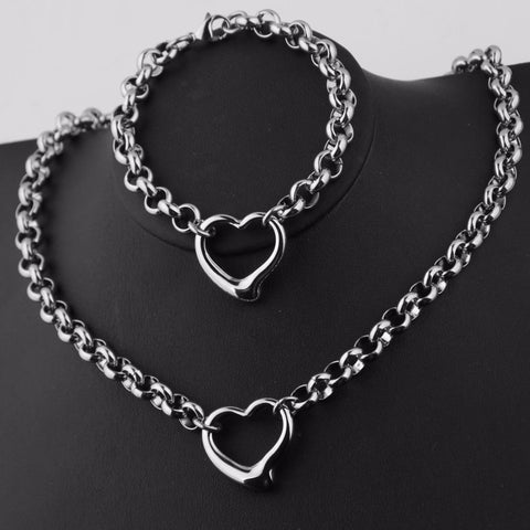 Women Jewelry Set Stainless Steel Silver Rolo Chain Women's Toggle Heart Pendant Necklace&Bracelet More Styles Mother's Day Gift - thefashionique