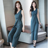 Women Jumpsuits 2018 new Summer office lady elegant solid color sleeveless long Rompers - thefashionique