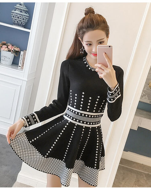 Women Knitted Dresses 2019 Autumn Winter Long Sleeve O-neck Geometric patterns Fit and A-line Short Dress Elegant Party Dress