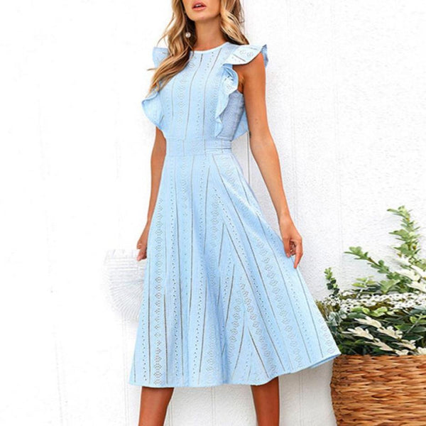 Women Lace Eyelet Dress Summer Vintage Ruffled Sleeve Dresses O Neck Elegant Office Ladies Midi Dresses #10 - thefashionique