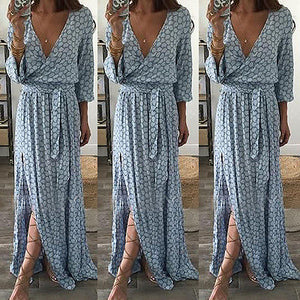 Women Ladies Clothing Floral Print Long Sleeve Boho Dress Lady Summer Deep V Neck Party Long Maxi Dress Women - thefashionique