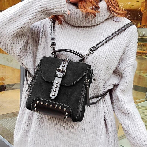 Women Leather Backpack Female Teenage Girls School Backpacks Vintage Solid Shoulder Bag Black Brown England Style Bags For Women - thefashionique