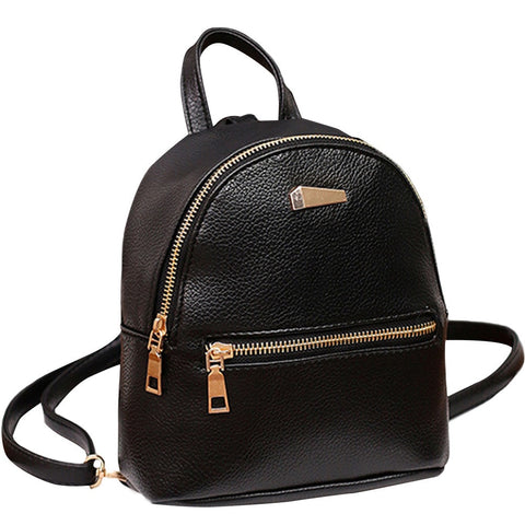 Women Leather Backpack School Rucksack College Shoulder Solid Fashion Ladies  Satchel Travel Bag - thefashionique