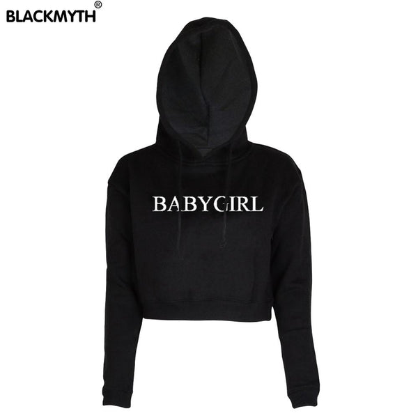 Women New BABYGIRL Fashion Letters Printed Short Black White Crewneck Hoodies Sweatshirt Long Sleeve Crop Tops - thefashionique