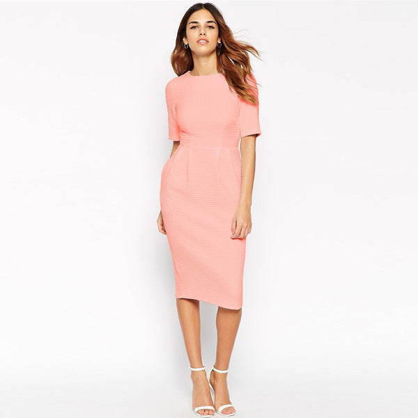 Women Pink Bodycon Dress New Arrivals 2016 Fashion European Short Sleeve Casual Dress Summer Elegant Knee Length Pencil Dresses - thefashionique