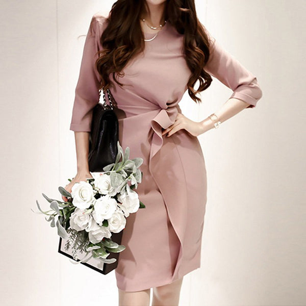 Women Pink Ruffles Ruched Draped Mini Bodycon Dress 2019 Spring Round Collar Pencil Dresses Office Lady Slim Vestidos - thefashionique