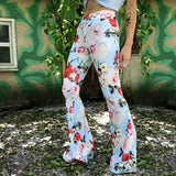 Women Plus Size Print Boot Cut Pant Ladies Fashion High Waist Flares Pants Womens Casual Floral Legged Bell-bottomed pants - thefashionique