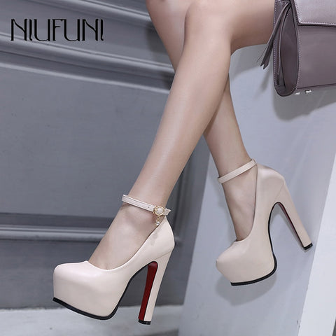 003812f01d61 Women Pumps 2018 Wedding Shoes Mary Jane Party Ankle Strap Pumps Platform  Ladies Shoes Thick Heeled