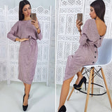 Women Sexy Backless Button Dress Ladies O Neck Sashes A Line Dresses 2018 Autumn Winter New Solid Casual Long Sleeve Dress - thefashionique