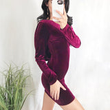 Women Sexy Backless Cross Strap Velvet Dress O-neck Bodycon Party Dress Elegant Office Lady Long Sleeve Wrap Mini Dress Vestidos - thefashionique