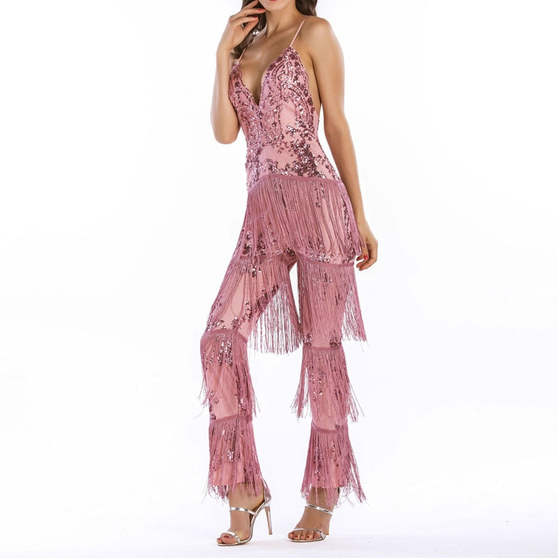 Women Sexy Evening Party Jumpsuit Deep V-neck Off Shoulder Straps Sequined Tassel Spangle Rompers Jumpsuit B02JM512 - thefashionique