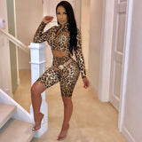 Women Sexy Leopard Print Mini Long Sleeve Party Club Wrap Fashion Suit New Look sexy girl high quality materials - thefashionique