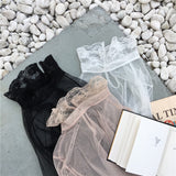 Women Sexy Slim Transparent Mesh T Shirts Patchwork Lace Full Lantern Sleeve Solid T-shirts Female Solid Elegant Tops Tees - thefashionique