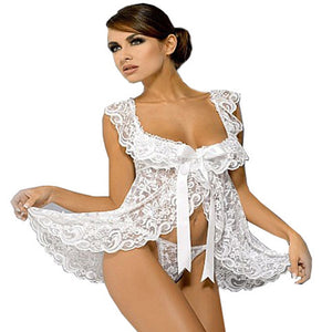 Women Sexy White bridal Lingerie Sets Wedding langerie G-String Gothic Transparent Lace Half Slips Intimates Plus Size XXL S-6XL - thefashionique