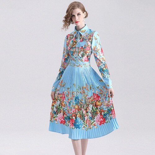 Women Spring Autumn Dress 2019 Pleated Fashion Long Sleeve Floral Print Shirt Elegant Dress A-line Vestidos de verano robe - thefashionique