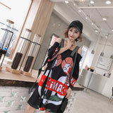 Women Spring Summer Slash Neck Camisole Dress Female Fashion Letter Cartoon Print Half Sleeve Vedtiso Black Loose Dresses Z966 - thefashionique