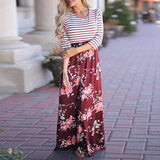 Women Striped Floral Maxi Dress Autumn Three Quarter Length Sleeve  O-neck Pocket Casual Dressess Bohemian Long Dress #10 - thefashionique