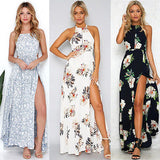 Women Summer Boho Long Maxi Party Beach Dress Evening Floral Dresses Ladies Womens Print Flower Sundress - thefashionique
