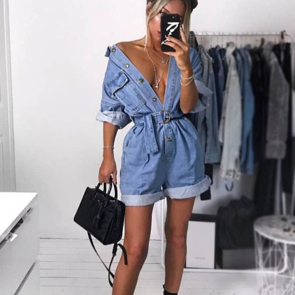 Women Summer Clothing Overalls High Waist Slim Jeans BF Loose Leg Jumpers Lapel Pocket Shorts Jumpsuit Denim Casual Streetwear - thefashionique