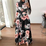 Women Summer Dress Elegant Long Sleeve Party Dress Boho Floral Print Maxi Dress Stand Collar Bandage Casual Dresses Vestidos 3XL - thefashionique
