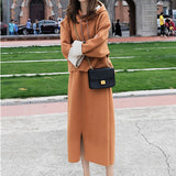 Women Sweatshirt Two Piece Set Female Casual Long Sleeve Loose Hooded Pullover Hoodies  And Split Midi Skirt Suit Tracksuits New - thefashionique