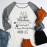 Women T shirt Autumn Mom Life Letter Print O-Neck 3/4 Raglan Sleeve Funny Female Baseball T-Shirt 2017 Casual Loose Top Tees - thefashionique