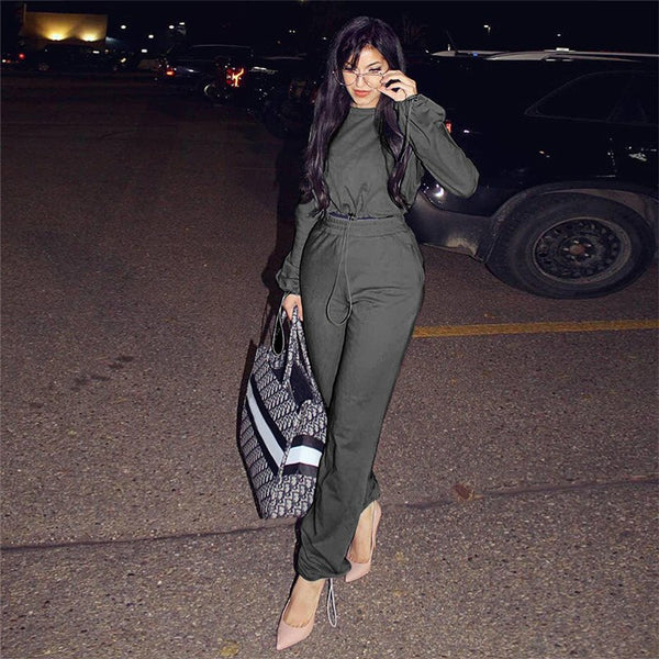 Women Tracksuits 2 Piece Set Green Cropped Top And Pants Fashion 2018 Winter Thick Casual Female Long Sleeve Hoodies Pants Sets - thefashionique