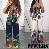 Women V Neck Off-shoulder Summer Jumpsuit 2018 New Lady Floral Printed Romper Clubwear Playsuit Casual Backless Jumpsuit&Romper - thefashionique