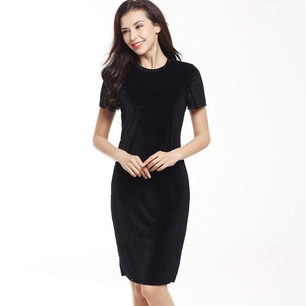 Women Velvet Sheath Dress Green Black O-Neck Short Sleeve Slim Pencil Office Work Wear Knee Length Dresses 2019 Spring Summer - thefashionique