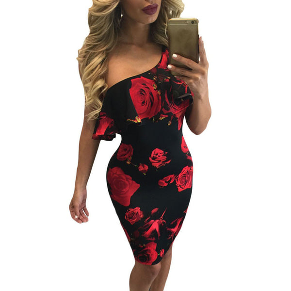 Women Vintage Floral Printed Peplum Pencil Dress Summer Ladies One Shoulder Sleeveless Ruffles Casual Bodyocn Dresses Party #Zer - thefashionique