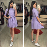 Women Vintage Sashes A line Sexy Party Dress Short Sleeve Turn Down Collar Straight Solid Mini Dress 2018 Summer Women Dresses - thefashionique