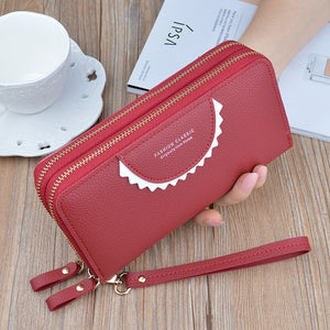 Women Wallet PU Leather Red/black/pink/green/purple/gray Dobble Zipper Female Purse Long Women Clutch Card Holder