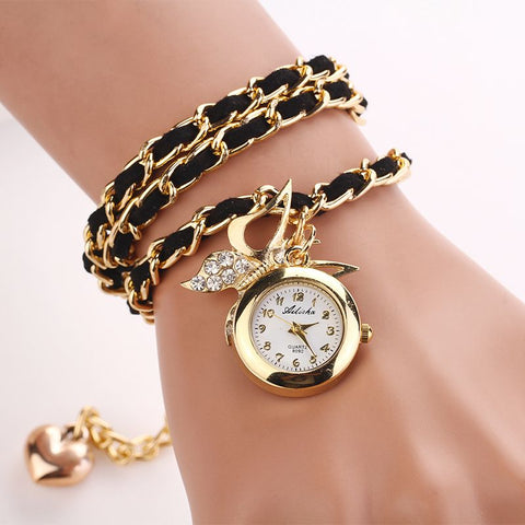 Women Watches PU Leather Mix Chain Strap charm wristwatch vintage bracelet Rhinestone butterfly Clocks reloj